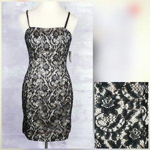 Impression Black & Gold Lace Sheath Dress NWT